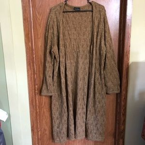 Lane Bryant brown sparkly long duster cardigan